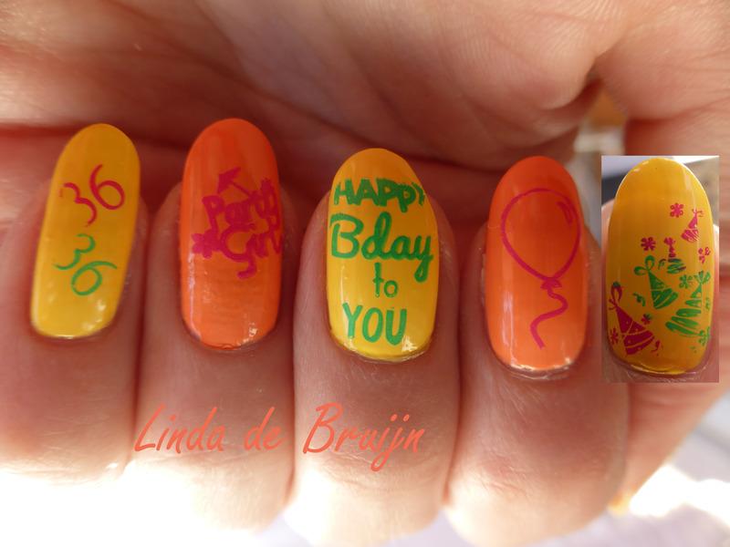Happy Birthday to me :) nail art by Linda de Bruijn - Nailpolis ...