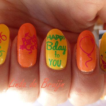 Happy Birthday to me :) nail art by Linda de Bruijn