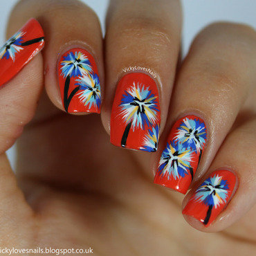 Summer Floral Nail Art nail art by Vicky Standage