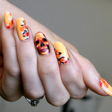 Summery Skull and Flowers nail art by ladycrappo