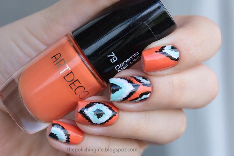 Orange Ikat nails nail art by Alena Belozerova