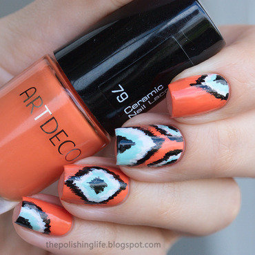 Orange Ikat nails nail art by Alena Belozerova