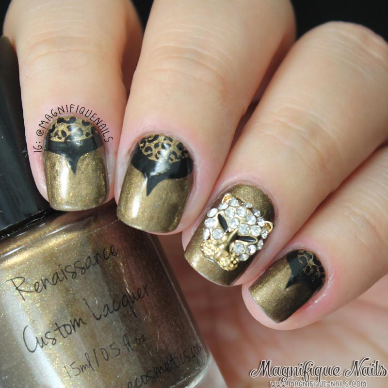 Leopard Charm Nails nail art by Ana
