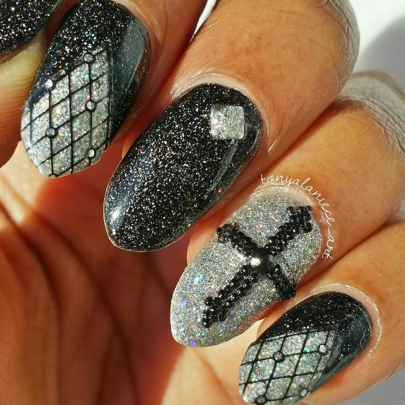 Black & Silver Holo Mani nail art by Tonya