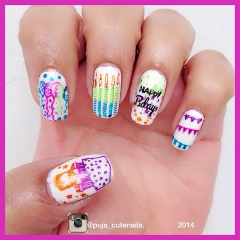 My birthday nails nail art by Puja Malhotra