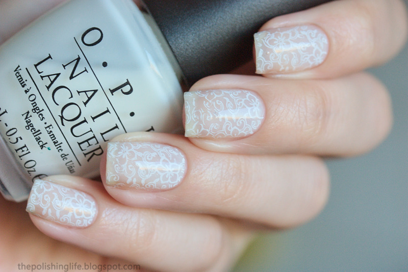 White on white stamping nail art by Alena Belozerova