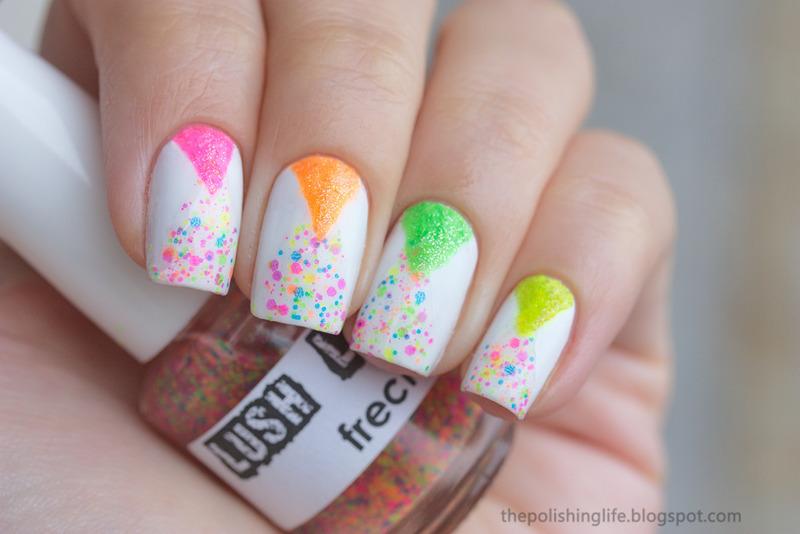 Neon triangles nail art by Alena Belozerova