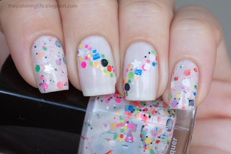 Multicoloured glitter placement nail art by Alena Belozerova
