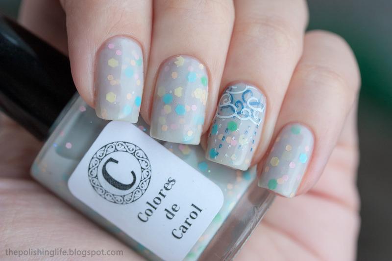 Rainy day stamping nail art by Alena Belozerova