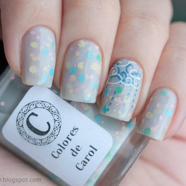 Rainy day stamping nail art by Alena Belozerova
