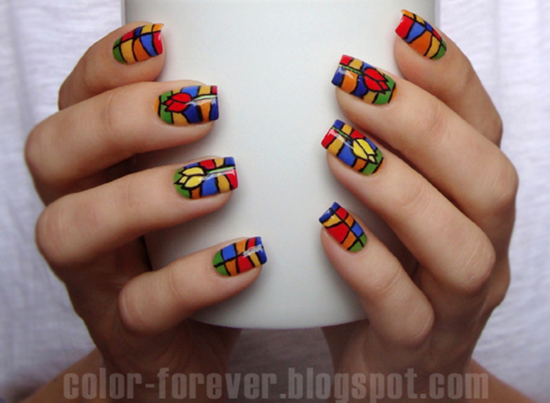 tulip & stained glass nail art by ania