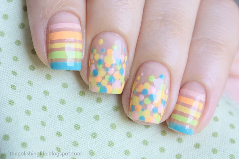 Pastel Stripes and Dots nail art by Alena Belozerova