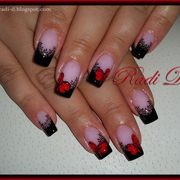 Black french with lace & Red Bows nail art by Radi Dimitrova