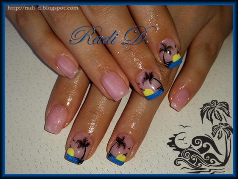 Sunset & Palms nail art by Radi Dimitrova
