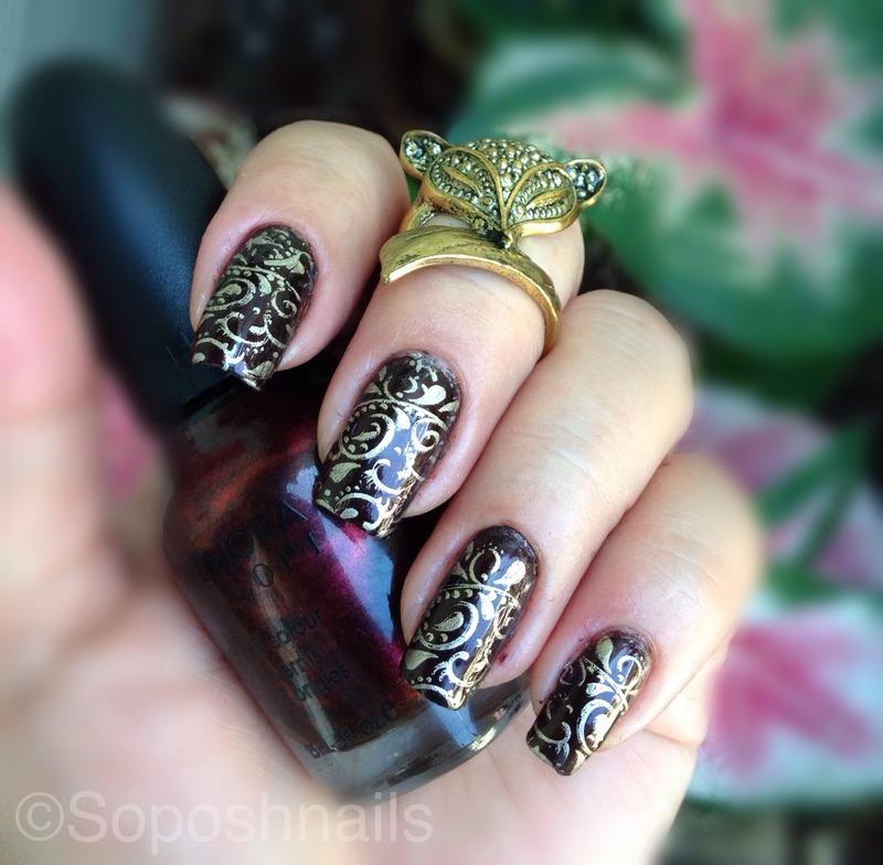 Vampy Nails with Gold Stamping nail art by Debbie - Nailpolis ...