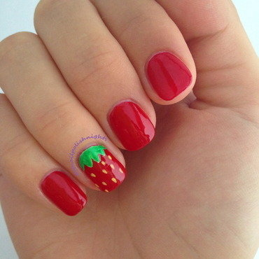 Strawberry nails nail art by Anna Malinina