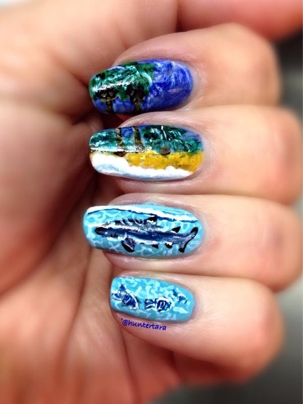 Shark island nail art by Tara Huff - Nailpolis: Museum of Nail Art