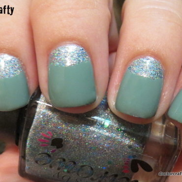 Subtle shimmery Half-Moon mani nail art by Nicole