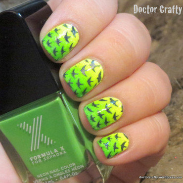 Stamping over Gradient nail art by Nicole
