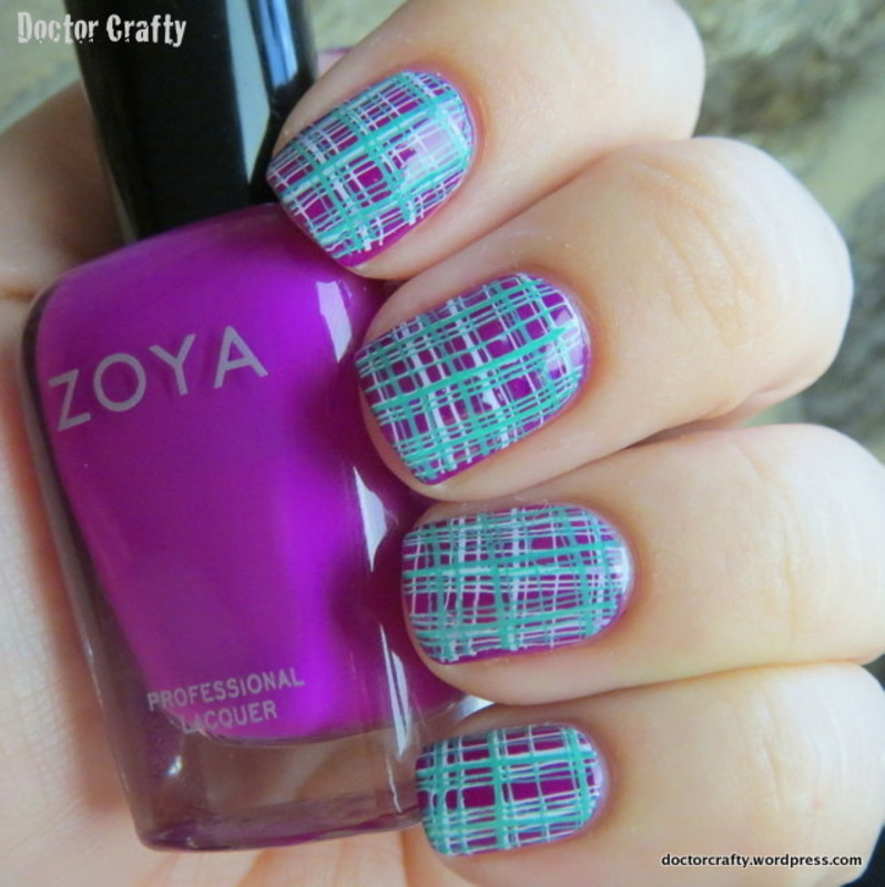 Plaid Double Stamped Manicure nail art by Nicole