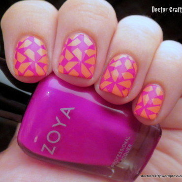 Stamped Brights nail art by Nicole