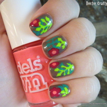 Tropical Flowers nail art by Nicole