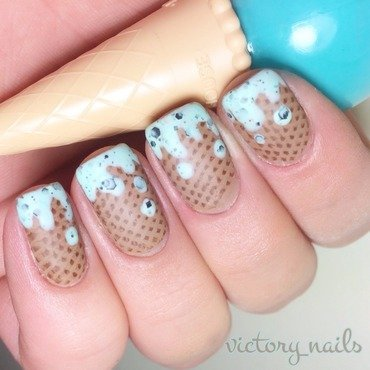 Mint choc chip icecream  nail art by Nicole
