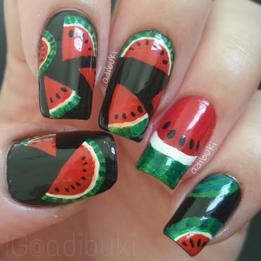 Watermelon Fun nail art by Adi Buki