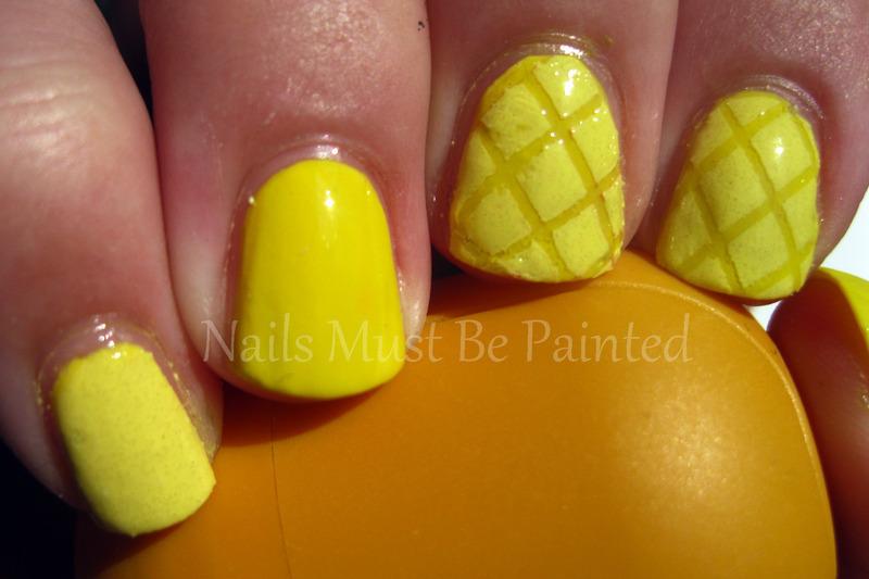 Lemon Quilting nail art by Emily
