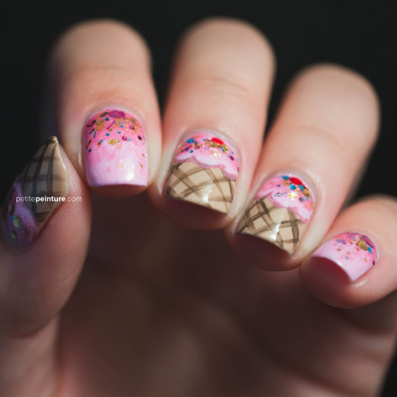 Strawberry Ice Cream nail art by Petite Peinture