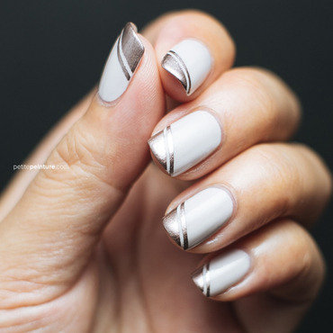 Metallic Rose Gold Angled Tips nail art by Petite Peinture