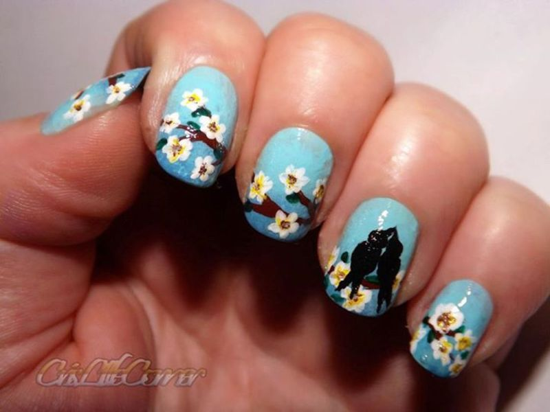 Love birds nail art by Cris'