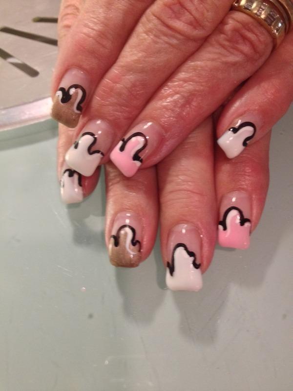 Drippy Neapolitan nail art by Victoria Zegarelli nail bar Lounge