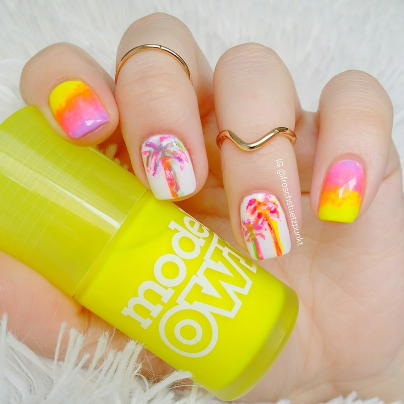 Neon Gradient & Palm Trees nail art by froschstuetzpunkt