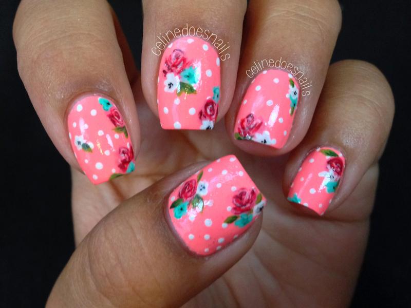 Neon Pink Floral Nail Art nail art by Celine Peña
