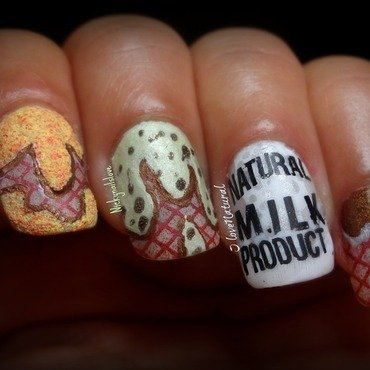 Ice Cream nail art by Nicky