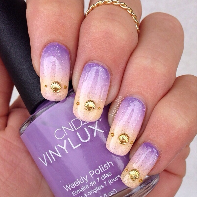 Beachy gradient nails with seashells  nail art by Henulle