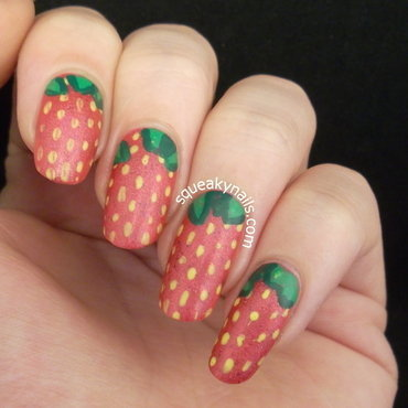 Strawberries nail art by Squeaky  Nails