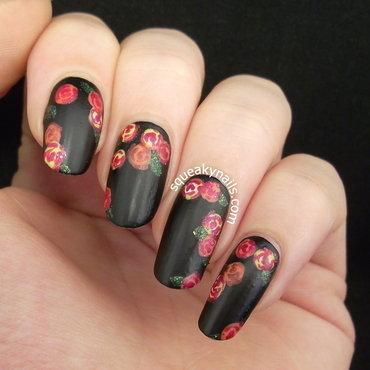 Vintage Roses  nail art by Squeaky  Nails