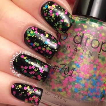 Sinful Colors Black on Black and Drip Drop Nail Paint 701 Swatch by PolishedJess