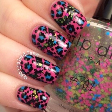 Leopard Chevrons  nail art by PolishedJess