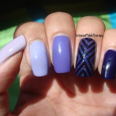 Purple Ombre with a stamp accent nail art by IntensePolishTherapy Anita