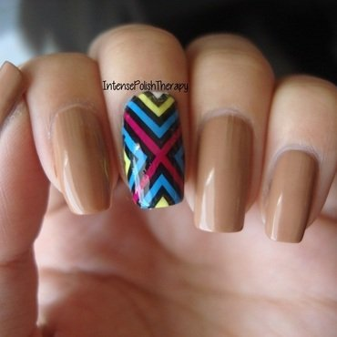 Neutral manicure with a bright stamped accent nail art by IntensePolishTherapy Anita