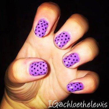 Purple polka dots nail art by Chloe Lewis
