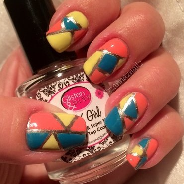 Color Block nail art by Sanna