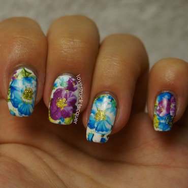 floral mani using water decals nail art by Stephanie L