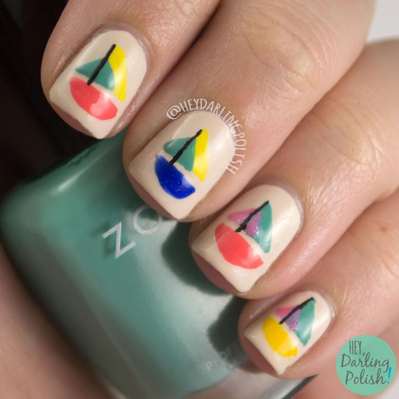 Sailboats nail art by Marisa  Cavanaugh
