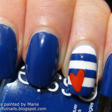 Nautical Stripes with Heart Nail Art nail art by Marie