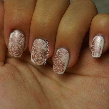 stamped roses nail art by Stephanie L