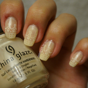bridal nails nude jelly stamping sandwich nail art by Stephanie L